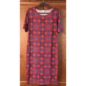 Lularoe Julia dress with red/blue color pattern